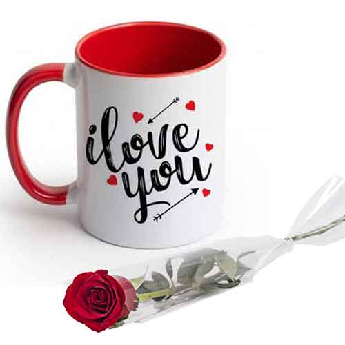 Love Mug With Single Rose